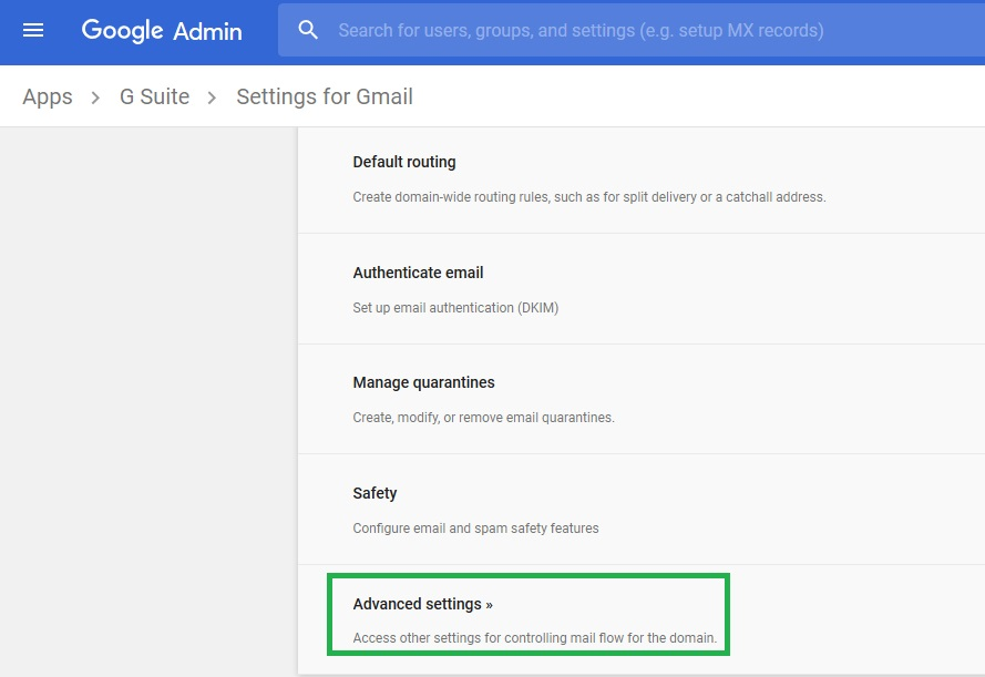 gmail default routing